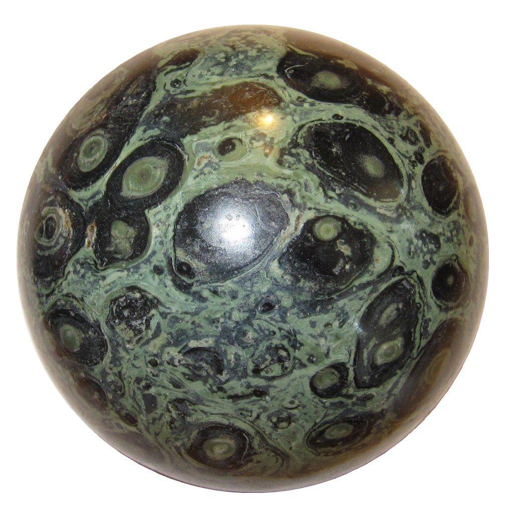 "Jasper Ball Green 08 Crocodile Kambala Prime Quality Crystal Sphere Collector Energy Stone 2.7"""