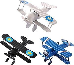 eZAKKA Airplane Hanging Ornament, Vintage Mini Metal Airplane Toys Decor Decorations Model Aircraft Biplane Pendant for Boys Room, Cake Toppers, Photo Props, Christmas Tree, Desktop