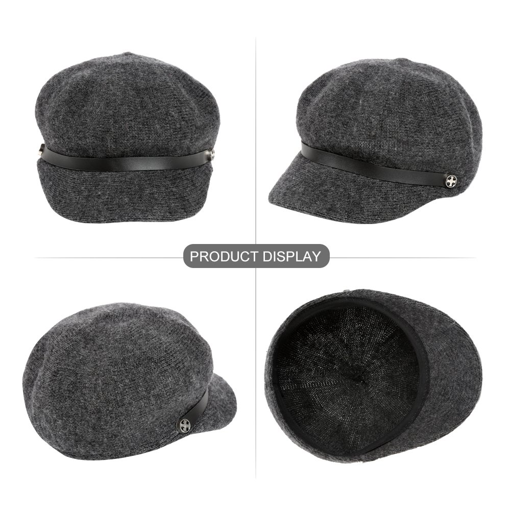 Vbiger Women Woolen Fedora Newboys Hat Visor Beret (Dark Grey) by VBIGER (Image #5)