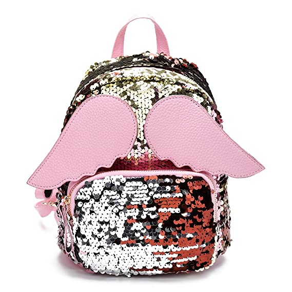 Amazon.com: Thobu Women Girls Glitter Sequins Backpack Schoolbag Shoulder Bag with Angel Wings-Silver: Home & Kitchen