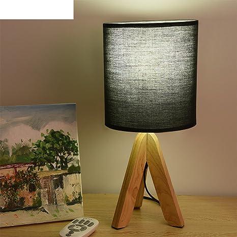 YUE lámpara mesa de madera maciza/Sencillas trípode de ...