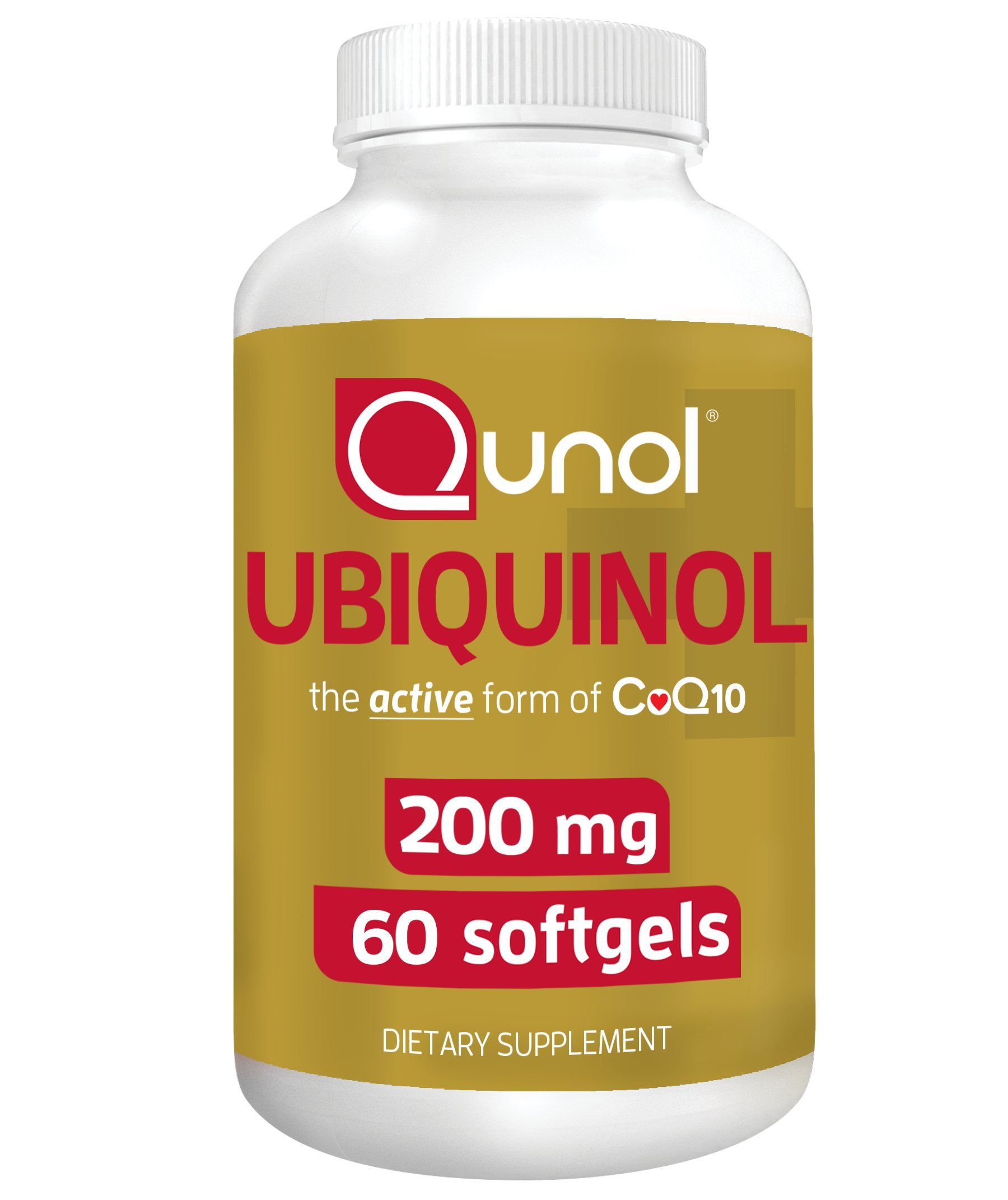 Qunol Ubiquinol 200mg, Powerful Antioxidant for Heart and Vascular Health, Essential for energy production, Natural Supplement Active Form of CoQ10, 60 Count