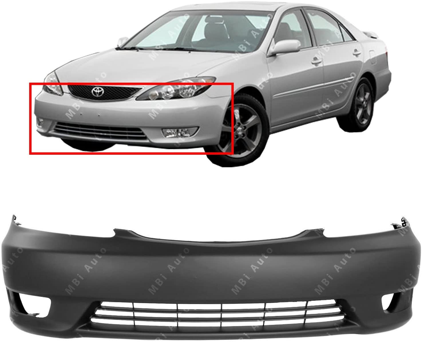 Front Bumper Cover Fascia for 2005 2006 Toyota Camry w/Fog 05 06 ...
