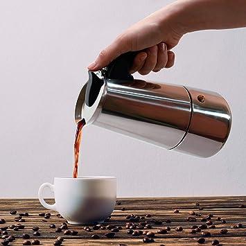 Business XXII Cafetera Italiana. Cafetera Acero Inoxidable 6 Tazas (300ml). Cafetera Moka Plateada. Ideal para Utilizar en la Oficina y/o en casa.