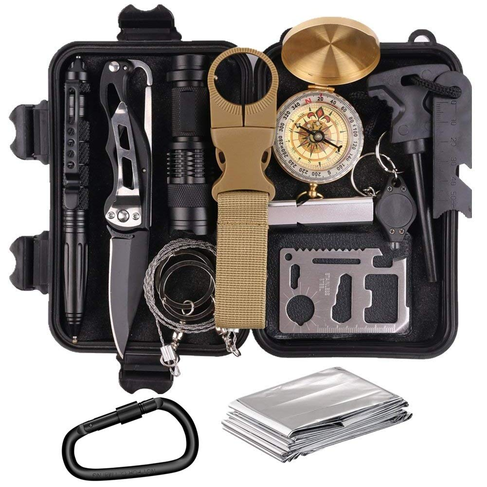 KEPEAK 14 in 1 Emergency Survival Kits Outdoor Survival Gear Kit for Camping, Hiking, Adventure and Hunting