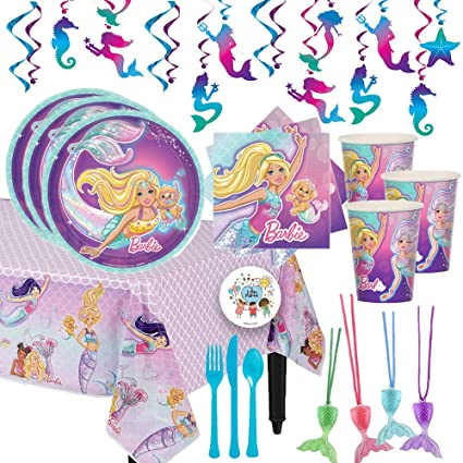 Party City Iridescent Barbie Mermaid Kids Birthday Party Supplies for 8 Guests and Decorations Include Plates Napkins