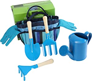 Erikord Kids Gardening Tool Set - Children Gardening Kit with Tote Bag, Rake Spade, Gloves, Watering Can for Girls Boys