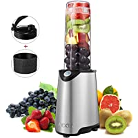 Aicook Stainless Steel Single Serve Smoothie Maker Blender with Travel Lid and Tritan BPA Free Sport Bottle (Silver)