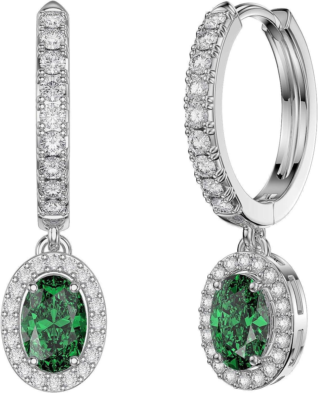 Eternity - Pendientes de aro de plata chapada en platino con circonita cúbica esmeralda y zafiro blanco ovalado