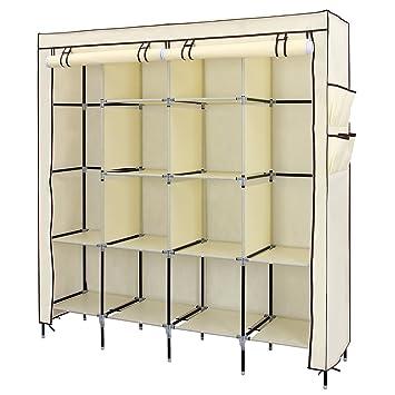 "SONGMICS 67"" Clothes Closet Portable Wardrobe Clothes Storage Rack 12  Shelves 4 Side Pockets Beige"