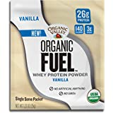 Organic Valley Fuel Whey Protein Powder, Vanilla, 1.23 oz Single Serve Packets, Pack of 12