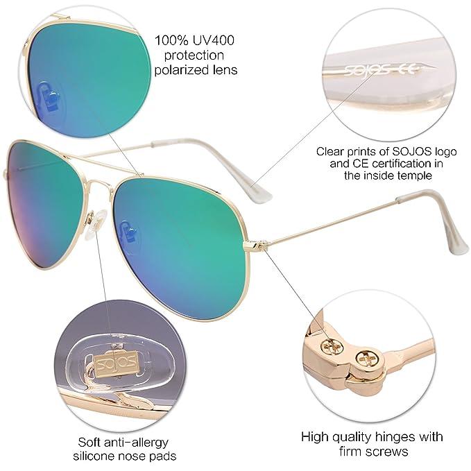 63be298631 SojoS Classic Aviator Polarized Sunglasses Mirrored UV400 Lens SJ1054 with  Gold Frame Green Mirrored Lens  Amazon.com.au  Fashion