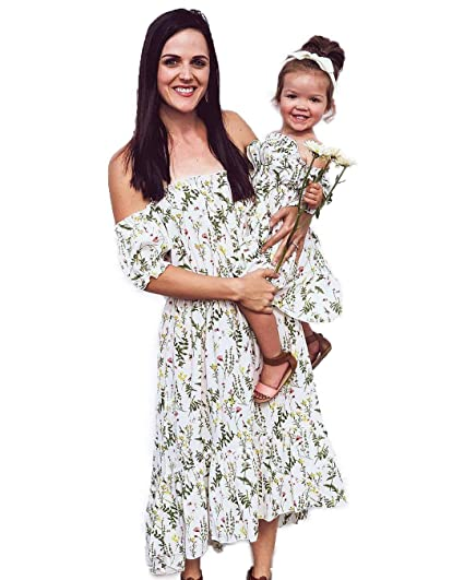 9bbdaf031 Amazon.com: PatPat Mommy and Me Maxi Dresses, Off Shoulder Matching Dresses  for Daughter and Mom: Clothing
