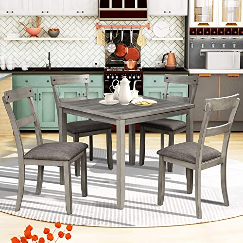 P PURLOVE 5 Piece Dining Table Set Rustic Wood Kitchen Table Set 5 Dinnet Set