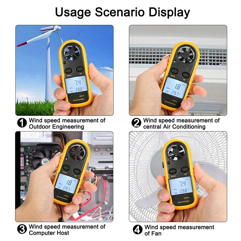 Amazon.com: piscatorzone bolsillo Anemómetro de mano Mini ...