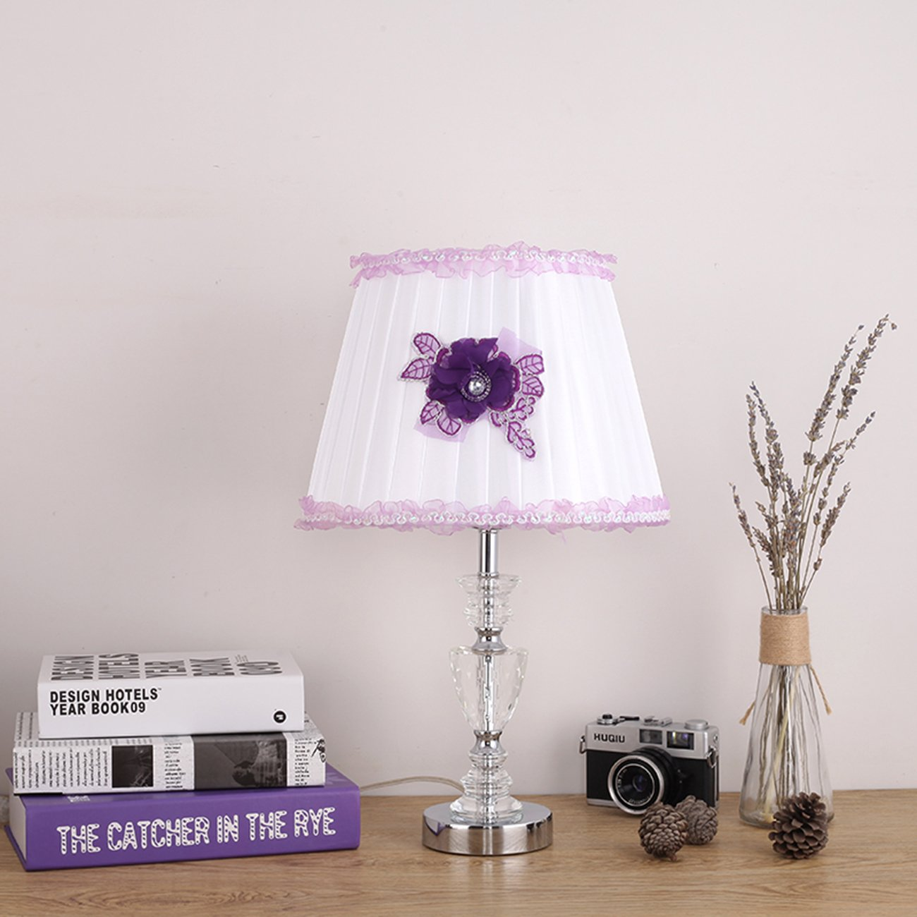 Garwarm Crystal Flower Table Lamps For Living Room Bedroom,3049CM/11.819.3 Inch WH