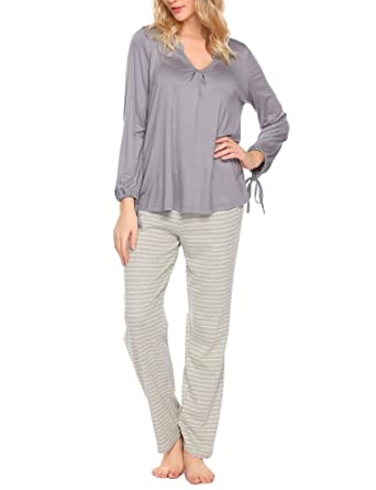 6230a439bdd8 Langle Womens Sleepwear Set Long Sleeve V Neck Pajama Sets with Pant(Gary