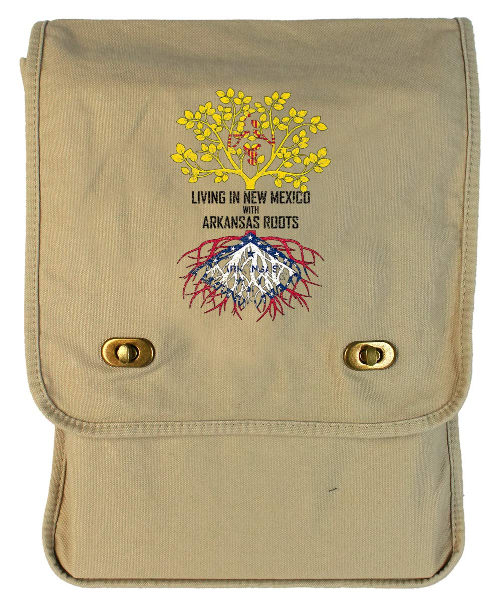 Tenacitee Living In New Mexico with Arkansas Roots Grey Brushed Canvas Messenger Bag