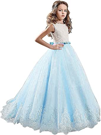 SHARON Girls Ivory Long Lace Flower Girl Dresses Champagne Less Party Dress