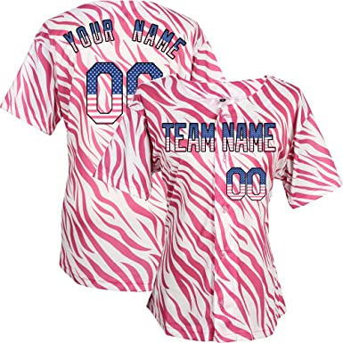 Jersey Baseball Clothing Any Women Jerseys And Name Embroidered Your - Pattern Zebra Custom com Numbers Pink Design Amazon Own Girls For