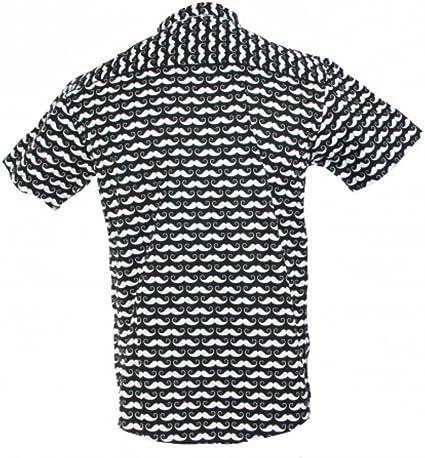 TRANKILO Camisa Negra con Estampado de Moustache (L): Amazon.es: Ropa y accesorios