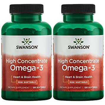 Swanson High Concentrate Omega-3 Fish Oil Essential Fatty Acids Omega 3 Heart Brain Memory