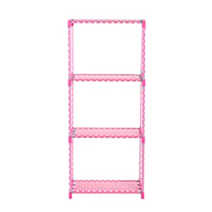 R. K. INTERNATIONAL Simple Open Book Shelf 3 Box Made of Metal & Plastic(Finish Color - Dot Pink)