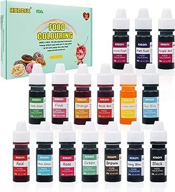 Colorante Alimentario - 16 colores 0.25 oz / 6 ml Colorante Alimentario Alta Concentración Liquid Set para Colorear los Bebidas Pasteles Galletas ...
