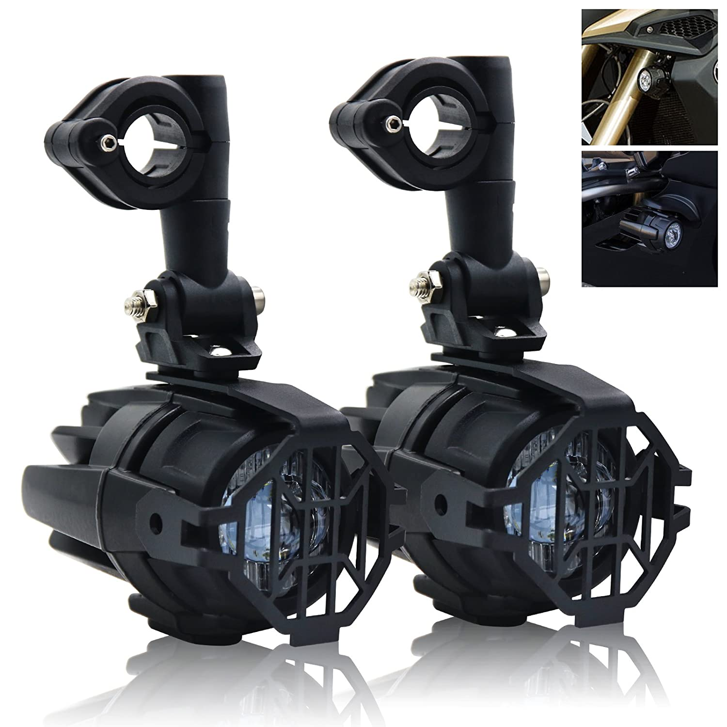 1 Set BSK Motorcycle LED Auxiliary Light Fog Spot Driving Lamp Kit with Protect Guard Wiring Harness for Universal Motorbike