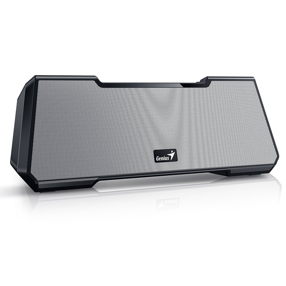 Genius Mobile Theater MT-20, Portable & Wireless SoundBar Designed Bluetooth Speaker. Cinema-Like Stereo Surround Sound, Deep Heavy Bass, 10 Hours of Playtime for Smartphones & Tablets - Silver by Genius