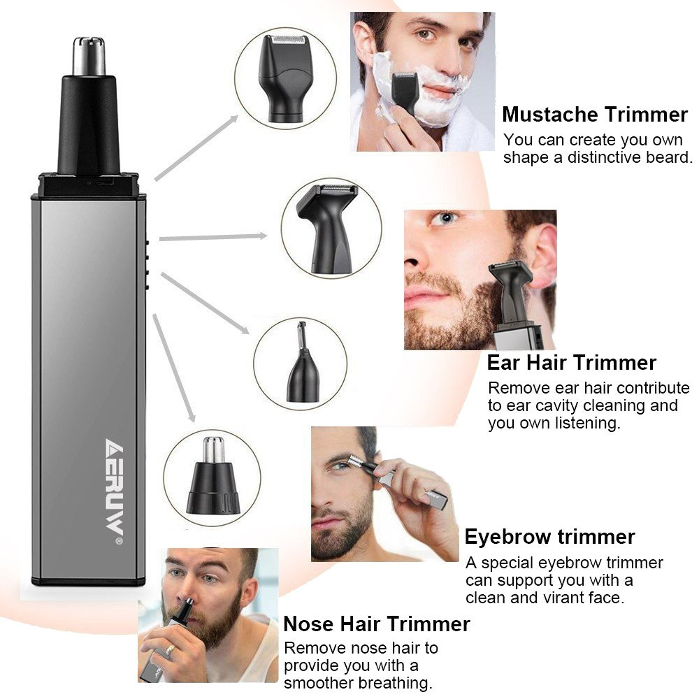 Nose Hair Trimmer for Men, 4 in 1 USB Rechargeable Waterproof Nose Ear Hair Trimmer/ Beard Trimmer/ Sideburns Trimmer/ Eyebrow Trimmer for Grooming Cleaning Rotation Blades Facial Beauty Tools (Gray)