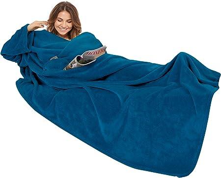 G/özze Premium Couverture douillette avec manches 88765-50-150240 150 x 240 cm Avec poche poitrine Bleu marine
