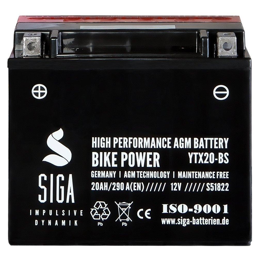 Motorrad Batterie YTX20-BS AGM Gel 20AH 12V 290A/EN YTX20-4 CTX20-BS 51822 52013 SIGA Batterien SIGA S51822