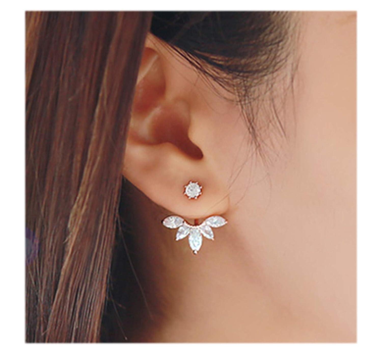 043a0732f Elensan Fashion Gold Plated Leaf Crystal Ear Jacket Double Sided Swing Stud  Earrings Gift: Amazon.ca: Jewelry