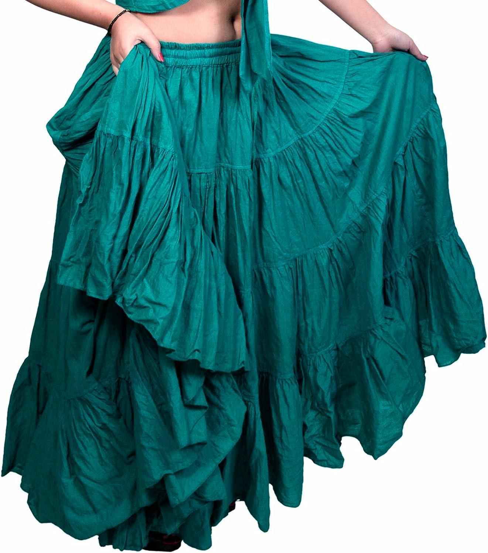 Teal Jade 25 Yard yardas Tribal Cotton Gypsy Belly Dancing Falda ...