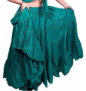 2755734289 Teal Jade 25 Yard Yardas Tribal Cotton Gypsy Belly Dancing Falda 09