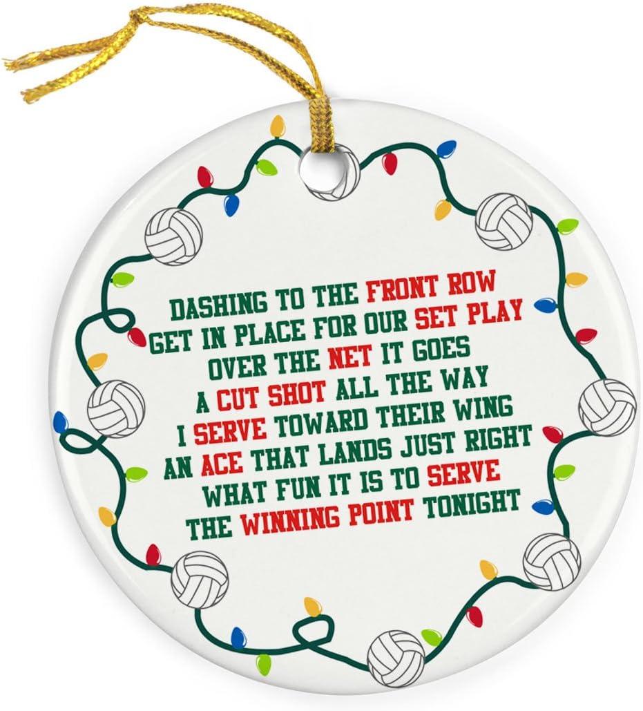 ChalkTalkSPORTS Jingle All The Way Christmas Ornament  Volleyball  Porcelain Ornaments
