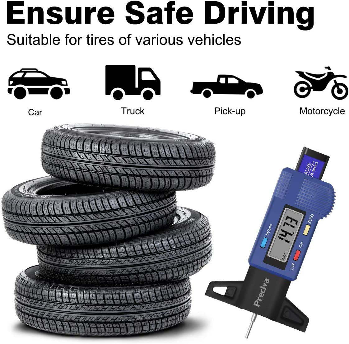 BCVBFGCXVB Easy To Carry 1Pcs Tyre Depth Gauge Car Tyre Tire Depth Gauge Car Tire Tread Depth Gauge Caliper Silver