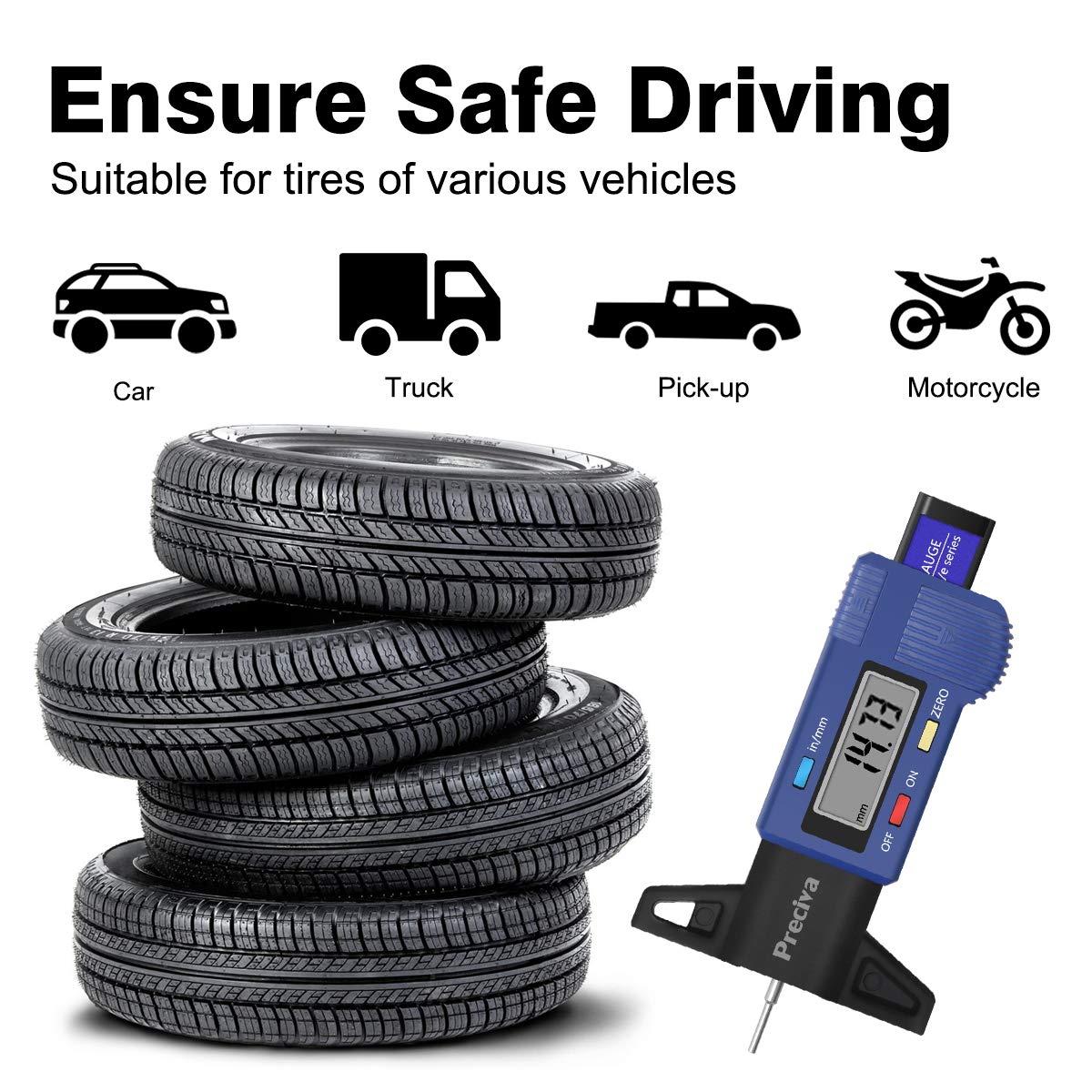 jackyee Car Tyre Tread Depth Gauge Trucks Van Tire Pointer Monitor Measure Device Tool Stainless Steel/&Plastic