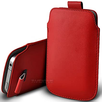 044ab40774 Aventus (Red) Apple iPhone 8 Plus Case High Quality Pouch Sleeve Faux  Leather Case Cover with Pull Tab Cord Slip In: Amazon.co.uk: Electronics
