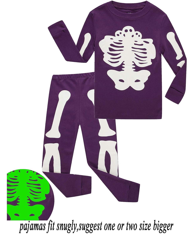 Babyroom Boys Cotton 2 Piece Halloween Skeleton Glow in The Dark Costumes Toddler Pjs GHW7042