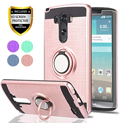 ZTE Blade Vantage Case,ZTE Tempo X,ZTE Avid 4 Phone Cases with HD Phone Screen Protector,YmhxcY 360 Degree Rotating Ring /& Bracket Dual Layer Resistant Back Cover for ZTE Tempo X N9137-ZH Metal Slate