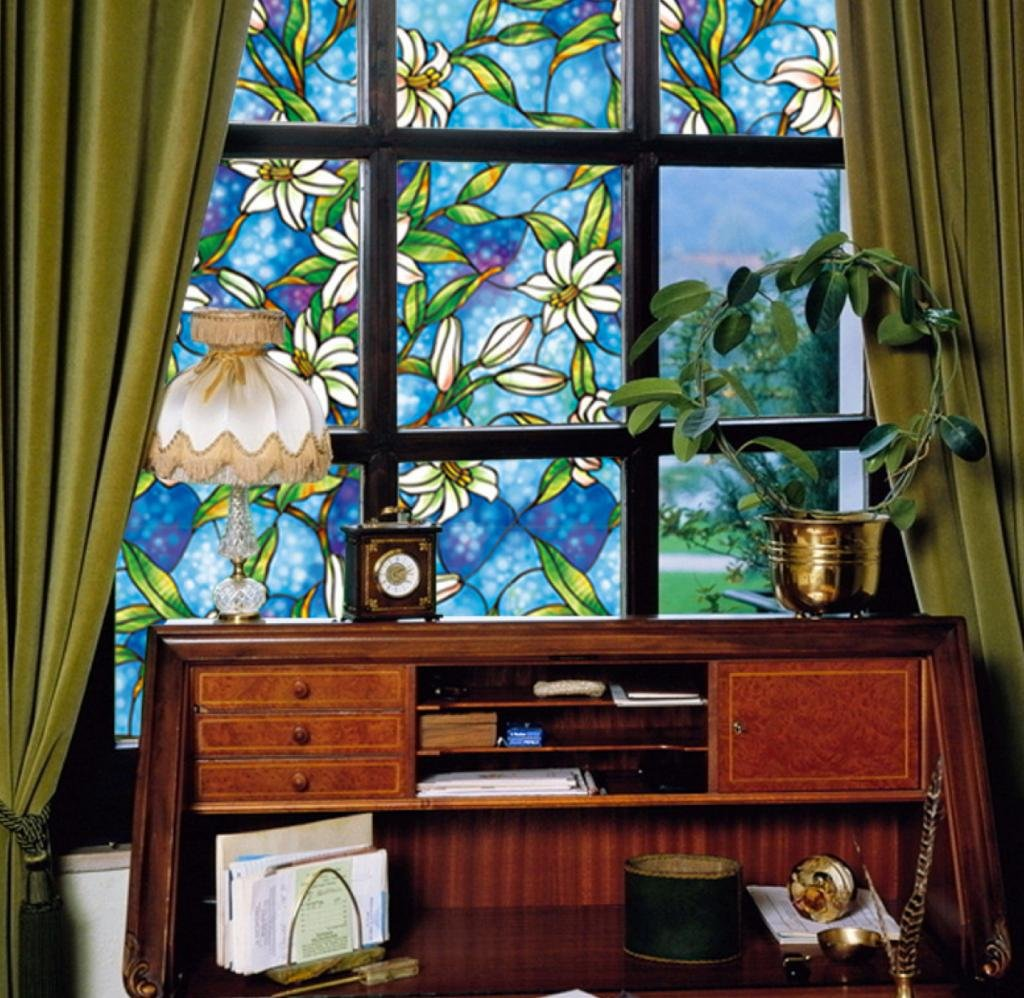 Amazoncom Designer Orchid Decorative Stained Glass Window Film - Stained glass window stickers amazon
