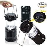 EACHPOLE |3-Pack| Outdoor Camping LED Lantern with Solar Charging Dual Power Supply Built-in Power Bank, APL1565