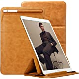 iPad Pro 12.9 Case Sleeve Apple Pencil Holder TOOVREN Tri-fold Stand Soft Leather PU Protective iPad Pro Pouch Cover Smart Keyboard Compatible Apple iPad Pro 12.9 Inch 2017/2015 Brown