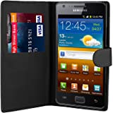 32nd Book Wallet PU Leather Flip Case Cover For Samsung Galaxy S2, Design With Card Slot and Magnetic Closure - Black