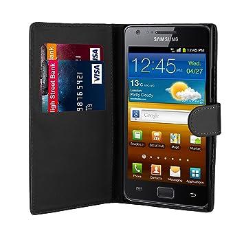 32nd® Funda Flip Carcasa de Piel Tipo Billetera para Samsung Galaxy S2 Sii i9100 con Tapa y Cierre Magnético y Tarjetero - Negro