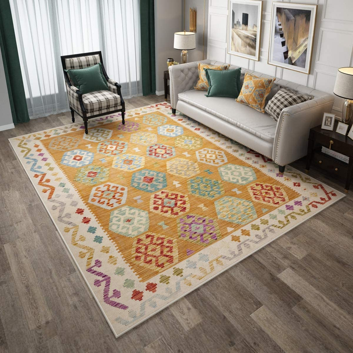 Colorful Floral Pattern, 5.3 x8 Bohemian Living Room Rug, Suitable for Office, Bedroom, Dining Room Rug