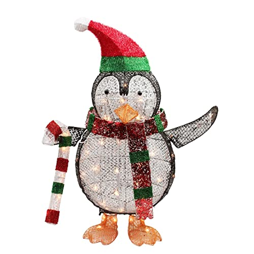 northlight seasonal lighted penguin with candy cane christmas yard art decoration 34 - Penguin Outdoor Christmas Decorations