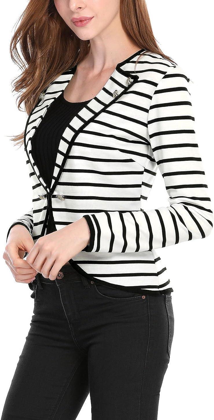 Allegra K Giacca da donna a maniche lunghe con risvolto intagliato stile casual